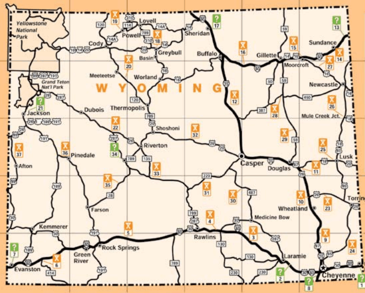Wyoming Rest Area Map